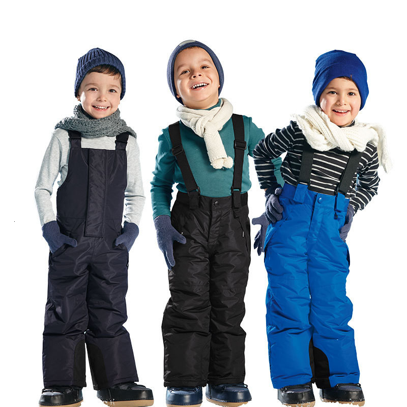 Winter Boys Girls Skiing Pants Thick Windproof Warm Snow Trousers Children Outdoor Skating Fishing Hiking Waterproof Ski Pant