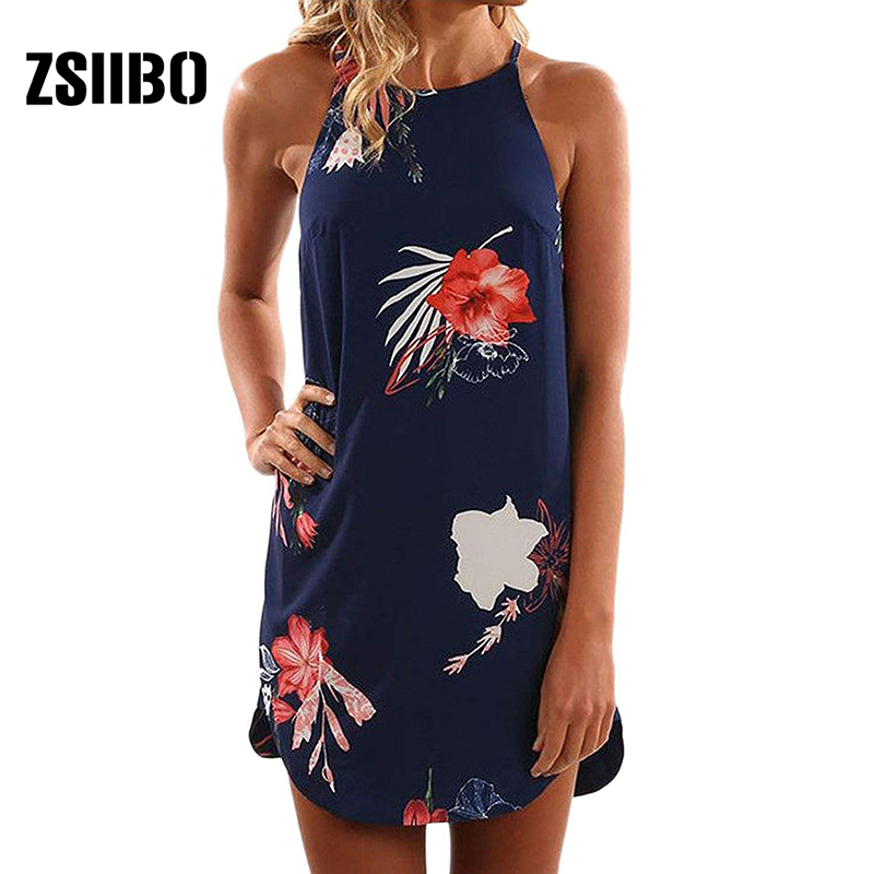 Summer DressPrint Sleeveless Women Dress O Neck Casual Loose Mini Chiffon Dresses Vestidos Clothes Clothing Dropshipping ZSIIBO
