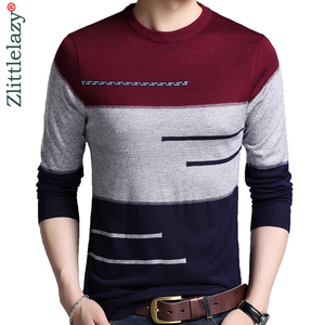 Image 1 - 2020 Brand Male Pullover Sweater Men Knitted Jersey Striped Sweaters Mens Knitwear Clothes Sueter Hombre Camisa Masculina 100