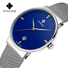 Ultra Thin Watches Men WWOOR Top Brand Luxury Rhinestone Man Watch Blue Dial Mesh Strap Fashion Classic Wristwatch Man Gift 2020 light blue cold shoulder thin strap top