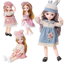 New 22 Movable Joints BJD Blyth Doll Full Set 1/6 Makeup Dress Up Cute Brown Blue Eyeball Dolls with Fashion Dress for Girls Toy