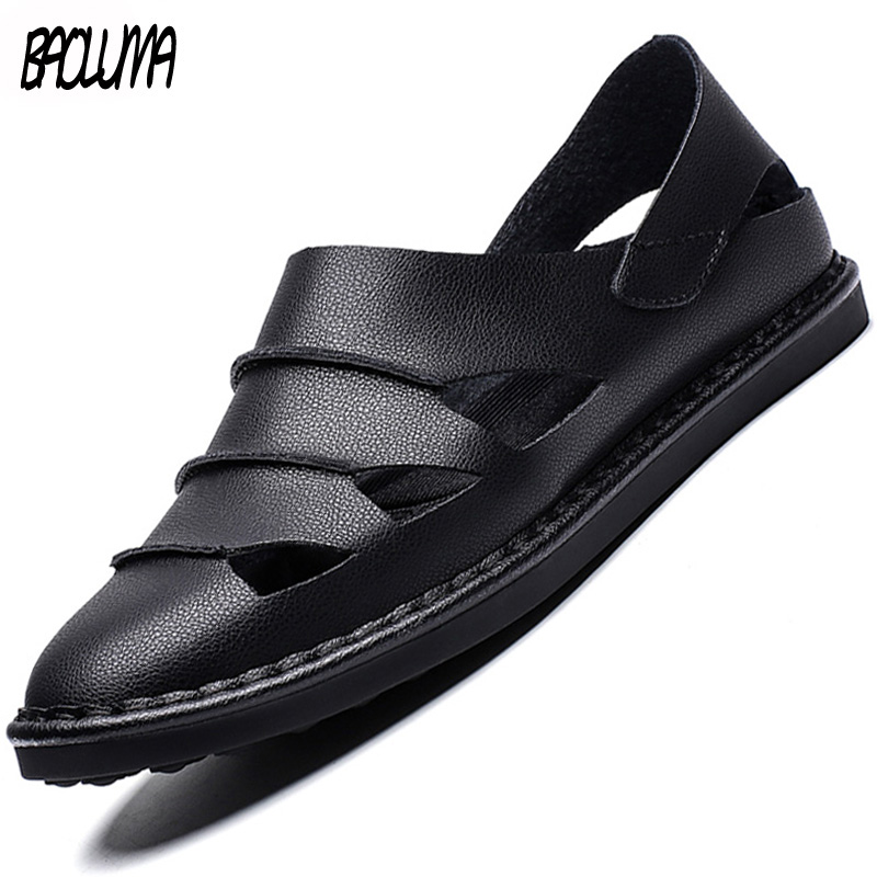 2019 New Summer Men Beach Sandals Man Slippers Comfortable  High Quality Fashion Sneakers Leather Outdoor Male Casual Sandals