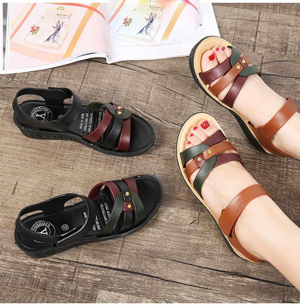 Sandálias de praia de fundo plano feminino verão respirável sapatos de fundo macio sandálias femininas plana casual zapatos de mujer tacon negro # g10