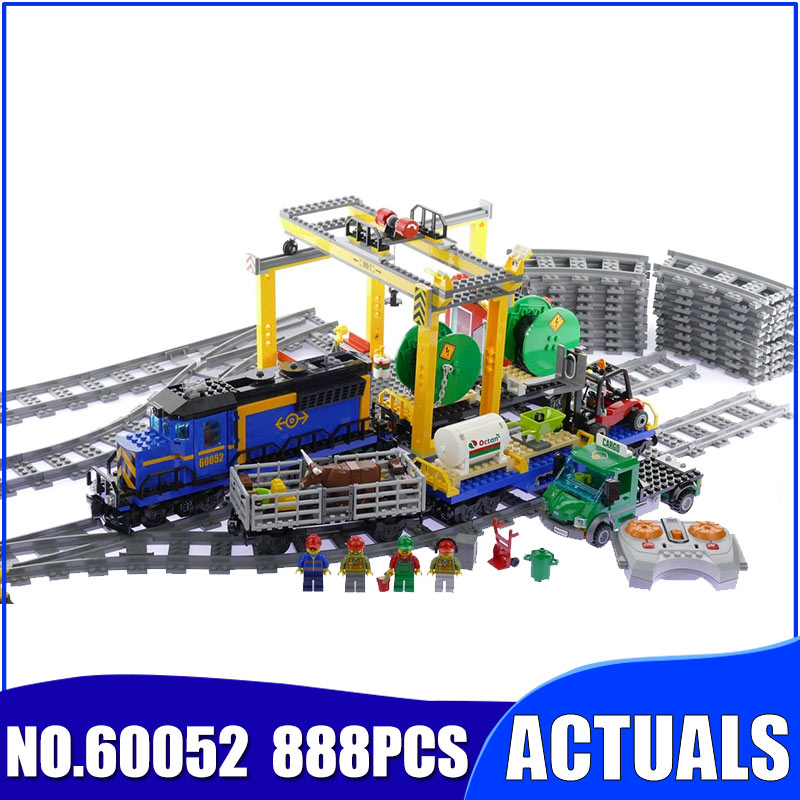 CITY 60052 electric toy Cargo Train railway Building Blocks compatible with legoinglys educational Bricks for birthday 02008