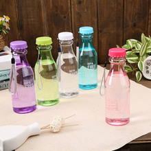 Hot Unbreakable plastic soda bottle sealed transparent Glasse 6 Colors