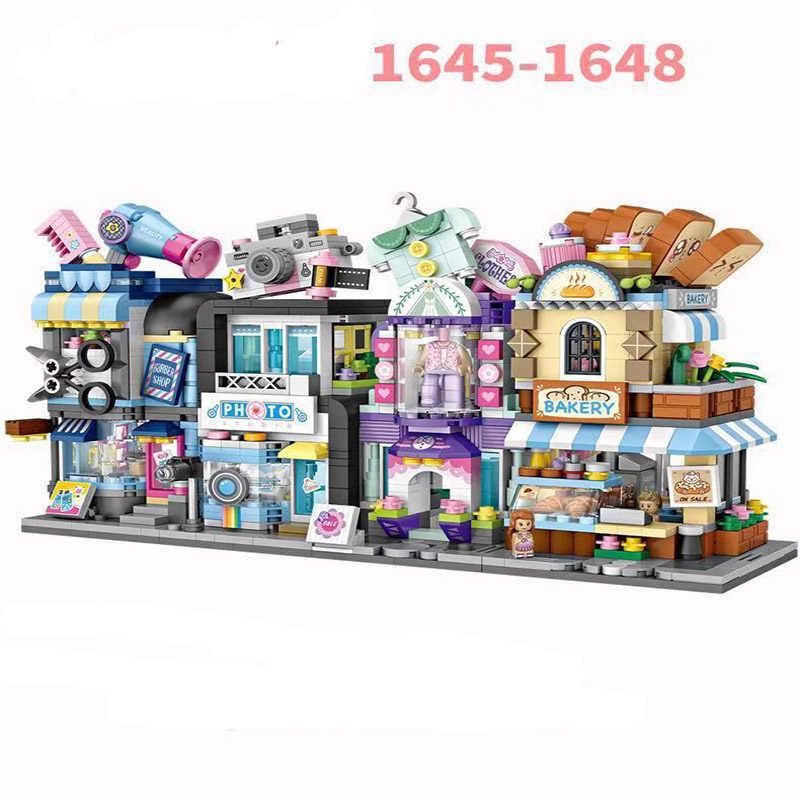 Nieuwe Loz Mini Blokken City View Scène Koffie Winkel Winkel Architecturen 3D Modellen & Gebouw Quiz Kerst Speelgoed Voor kinderen