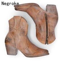 Women Classic Leather Western Cowboy Boots Ladies Mid Heels Women's Mid-calf