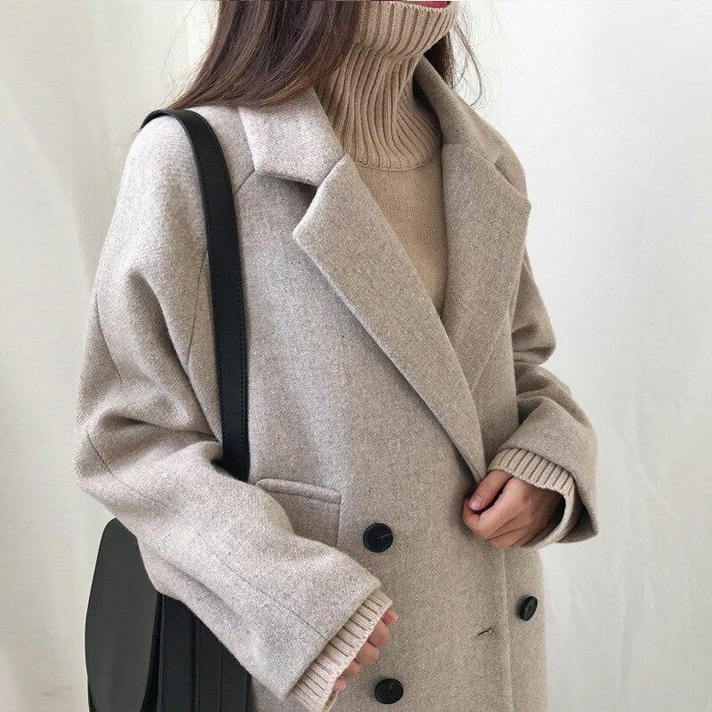 Factory Direct 2020 Wool Blend Women's Loose Elegant Double-breasted Wool Coat Coat Was Thin Fashion Women's Jacket