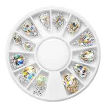 12 pçs caixa prego strass ab liga de cristal plana volta unhas pedra jóias de vidro 3d decoração da arte do prego diy design charme