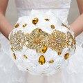 Handgemachte Hochzeit Brosche Diamant Braut Bouquet Satin Rose Blume mit Strass Künstliche Perlen Verziert Hochzeit Liefert