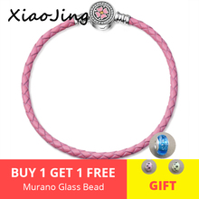 Newest 925 Sterling Silver Bead Charm pink Leather Bracelet & Bangle with enamel flower Buckle&Clear CZ Women Diy Jewelry