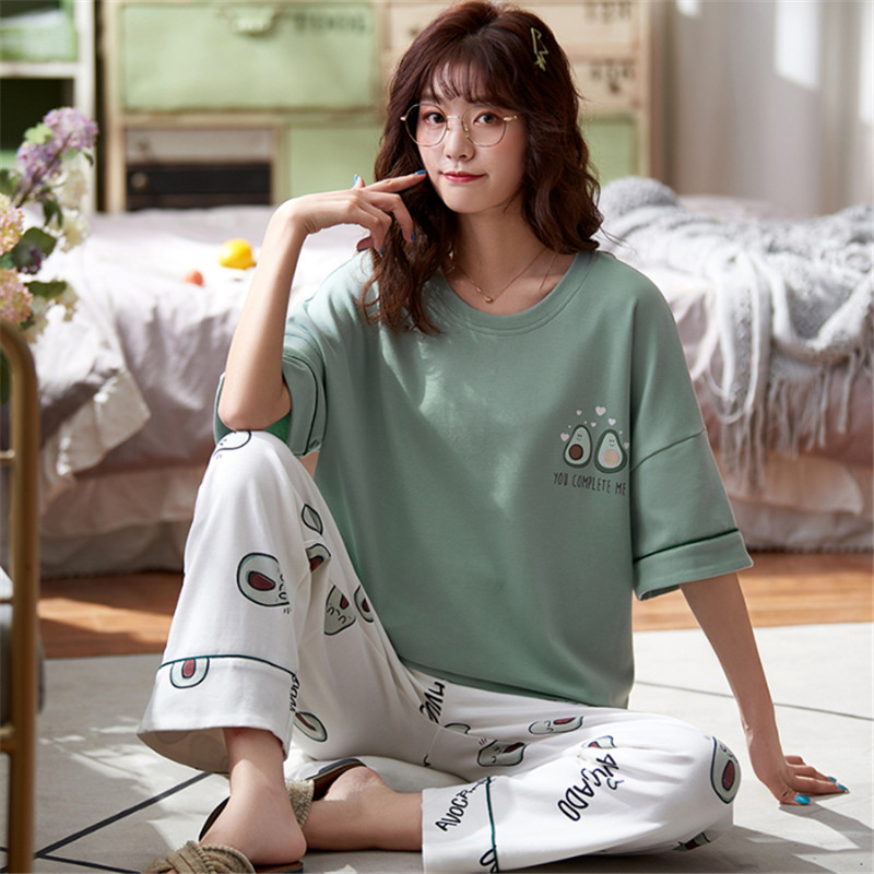 2020 New Cute Avocado Embroidered Short-sleeved T-shirt + Trousers Ladies Summer Small Fresh Pajamas Two-piece Set
