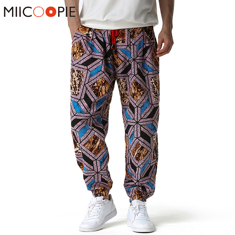 Mens Harem Pants Streerwear 2021 New Vintage Men Casual Geometric Printed Baggy Cotton Linen Hip Hop Trousers Pantalones Hombre