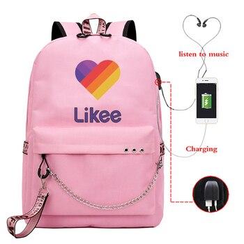Likee Backpack USB Charging LIKEE Video App Laptop Backpack Teenage Girls School Bags Russian Styles Zipper Book Bag Students