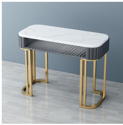 Мраморный Маникюрный Стол и стул со знаменитостями, набор, одинарный, двойной, золотой, железный, двухэтажный, Маникюрный Стол, простой, роскошный светильник - Цвет: 100cm