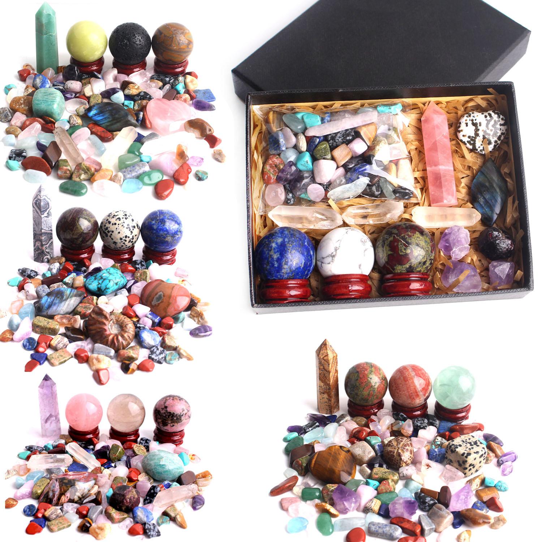 Lote de gemas naturales de cuarzo mezcladas de cristal, obelisco y bola y grava, especímenes minerales de colores, gemas curativas, decoración de boda, regalo creativo