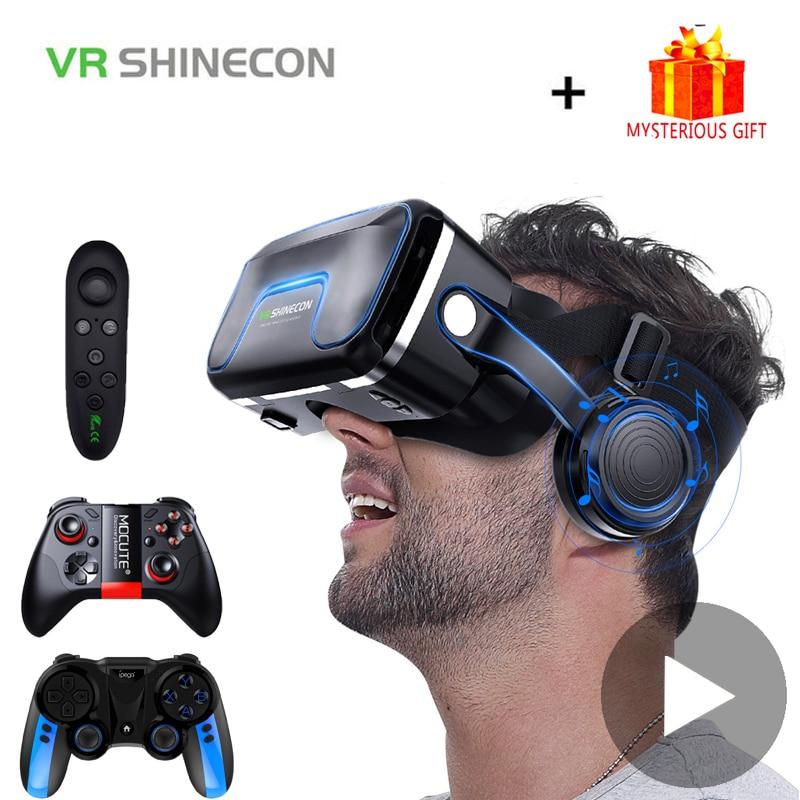 Vr shinecon 10.0 capacete óculos 3d realidade virtual casque para smartphone telefone inteligente óculos fone de ouvido viar jogo vídeo binóculos