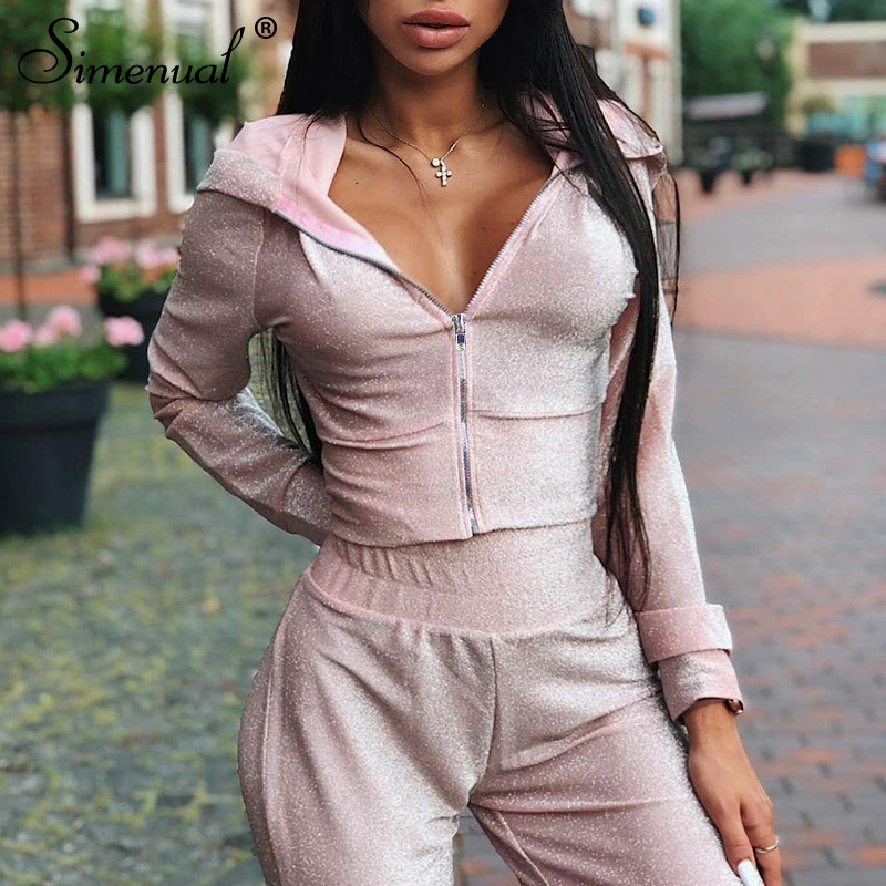 Simenual Casual Zipper Lounge Wear Matching Set 2019 Autumn Long Sleeve Sequin 2 Piece Outfits Women Top And Pants Sweatsuits