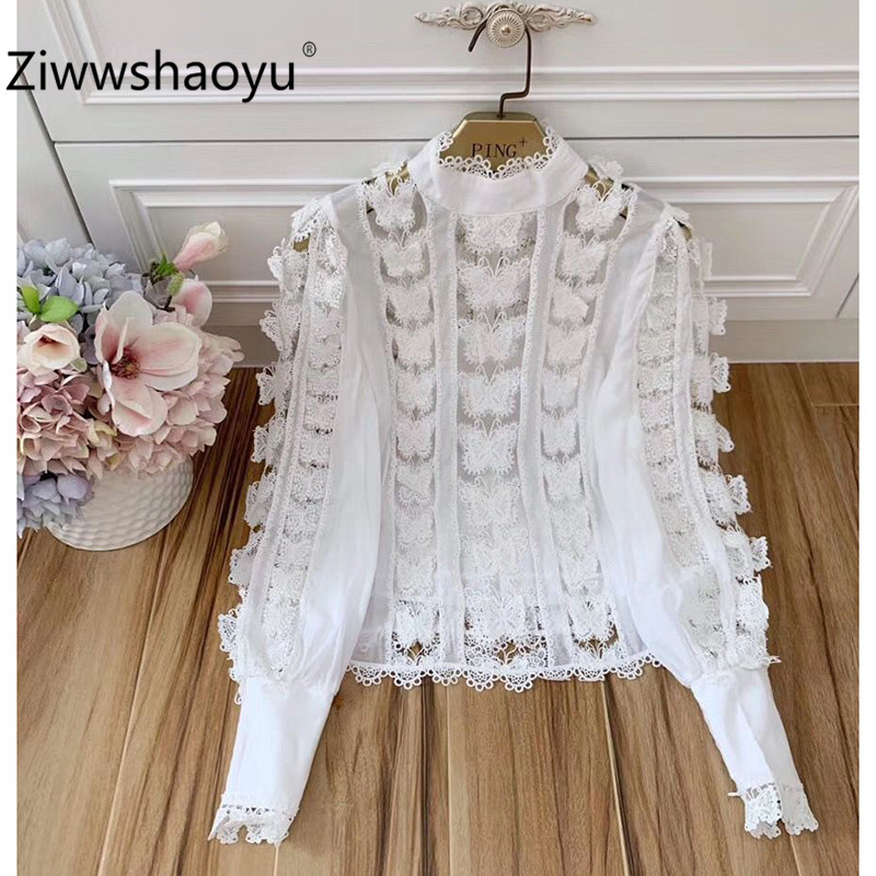 Ziwwshaoyu Designer Embroidery Applique Blouse Shirt Women Elegant Lantern Sleeve Stand Collar Autumn Party Sexy Blouse Shirt