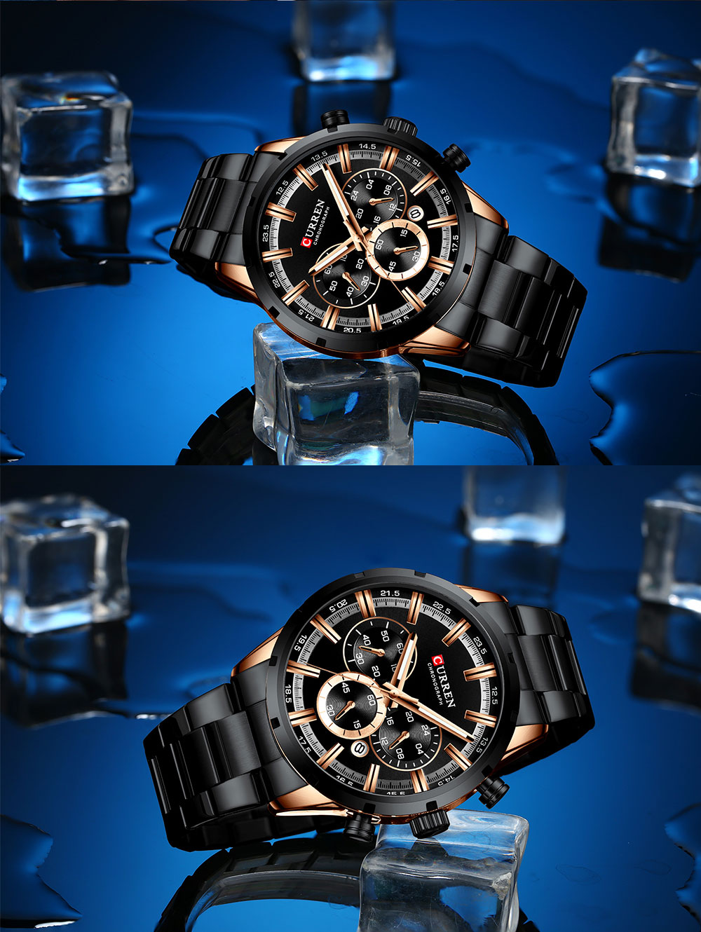 H5d3644abd9f94a74b8a97d827f15cb9bI CURREN Top Brand Military Quartz Watches Silver Clock Mens Quartz Stainless Steel Chronograph Watch for Men Casual Sporty Watch