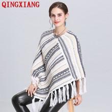 2019 Hot Selling V Neck Hooded Sweater Winter Warm Cloak Knitted Tassel Plus Size Loose Poncho Women Diagonal Striped Pullover цена в Москве и Питере
