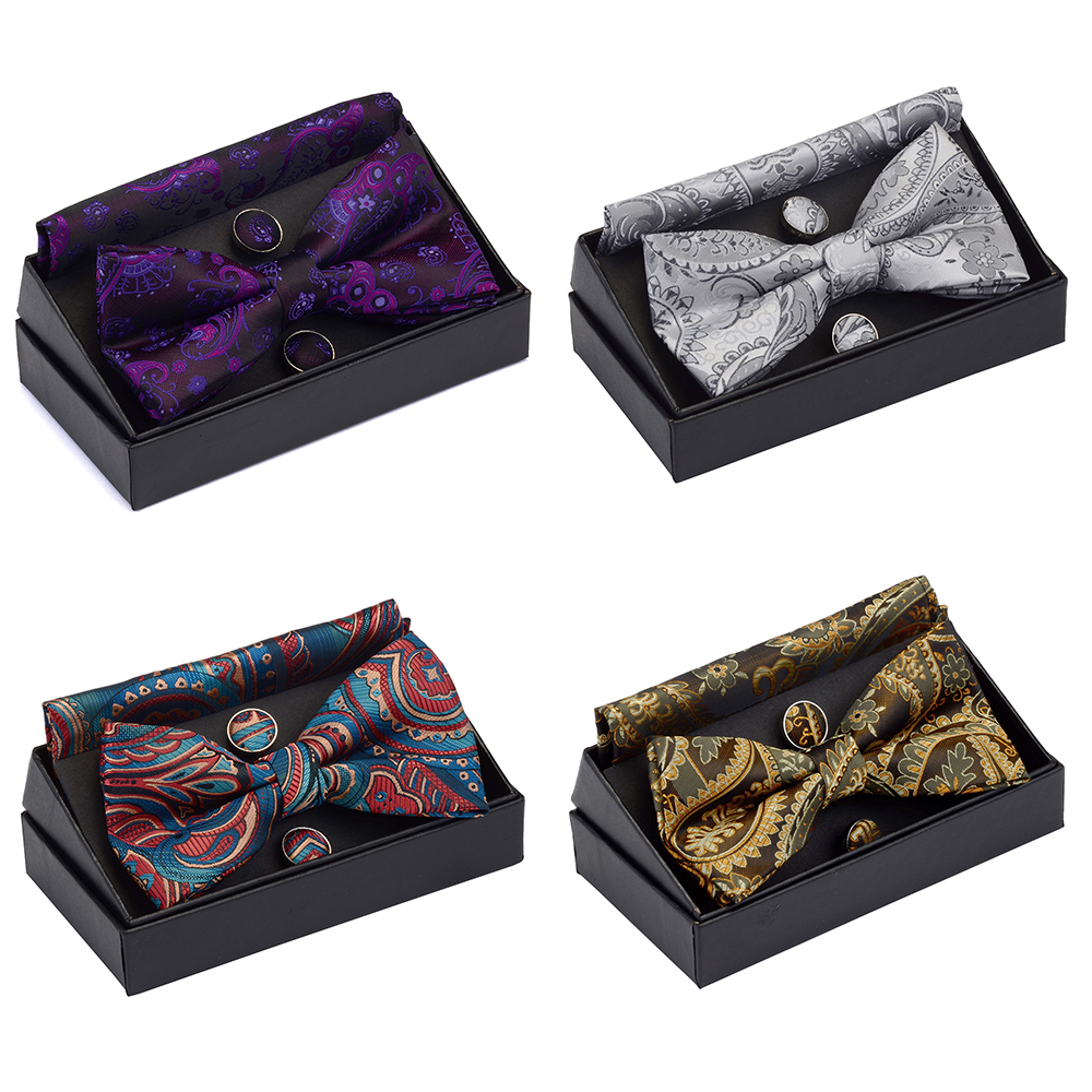 GUSLESON Men's Pre-tied Bow Tie Set Paisley Floral Bow Tie Pocket Square Cufflinks With Gift Box For Man Gold Red For Wedding