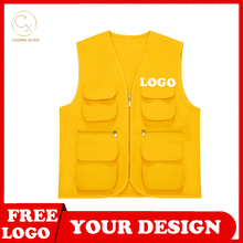 Work and leisure all-match summer new unisex vest multi-pocket vest high-end custom logo printed brand text