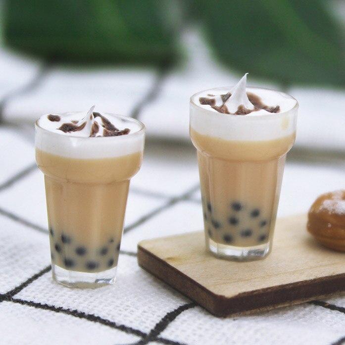 New 1:12 Dollhouse Miniature 2 Pcs Mini Milkshake Milk Tea Candy Food Toy Match For Ob11 Doll Collectible Gift