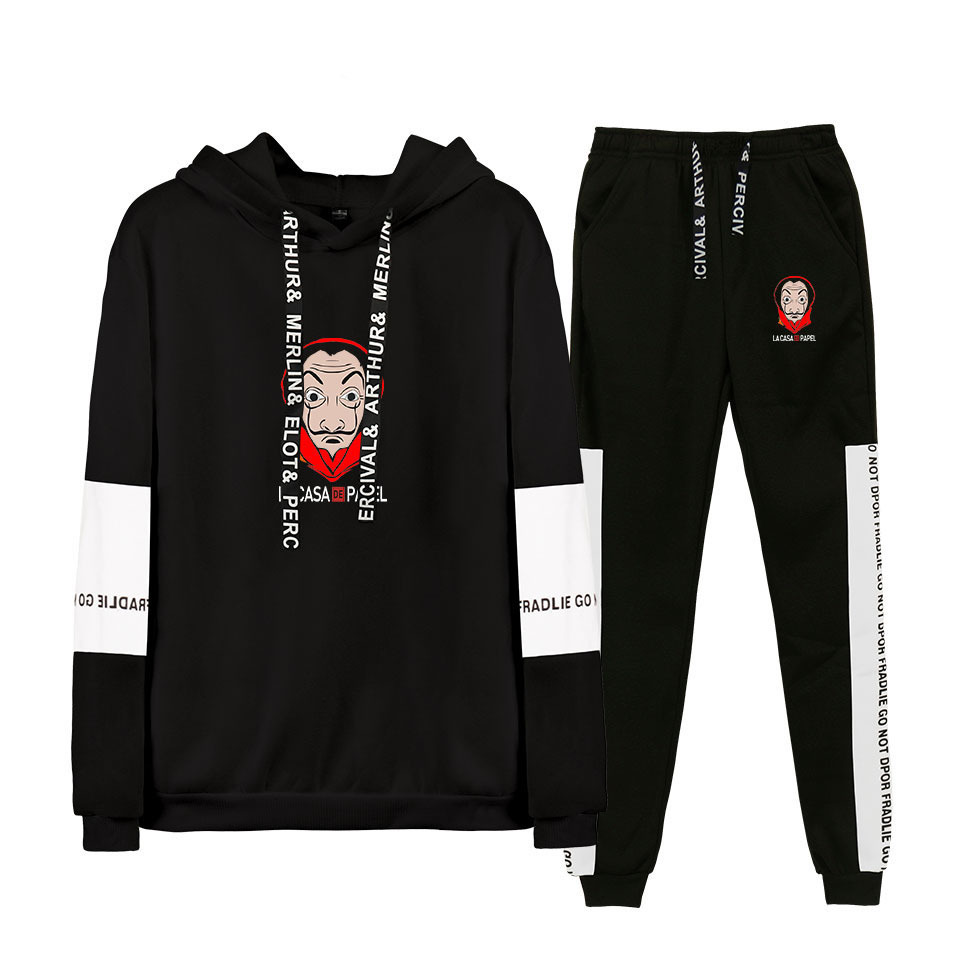 Money Heist House Of Paper Tracksuit Men Set La Casa De Papel Print Two Piece Set Top And Pants Sweat Suit Male Sporting Suits