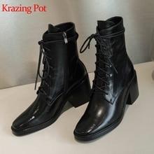 كرازينغ وعاء جلد البقر الطبيعي الدفء جولة تو دراجة نارية الأحذية البكر الجنية فتاة الشتاء عالية الكعب حذاء كاحل برباط الأحذية L88