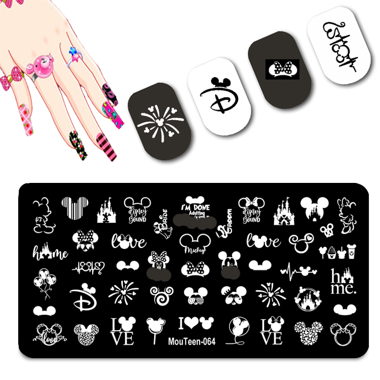 2021 New Cartoon Figure Nail Stamping Plates Cute Ear Stamping Plate Mouse Character Nail Art Templates #064