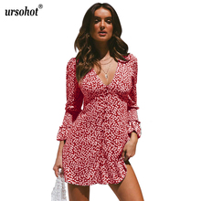 Ursohot Dress Women Floral Leaf Printed Deep V-neck Long Sleeve Ladies Autumn Beach Casual Mini Vestidos Party Woman
