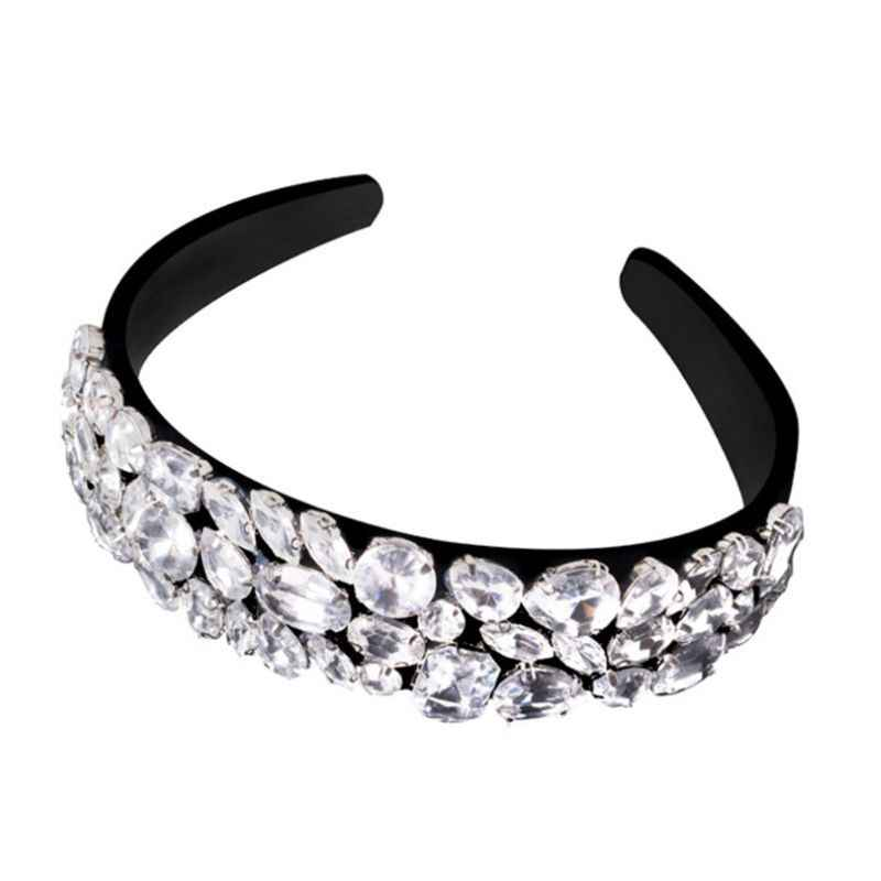 แฟชั่นผู้หญิง Wideside Headband Luxury Rhinestone Decor HEAD Hoop ผม BAND