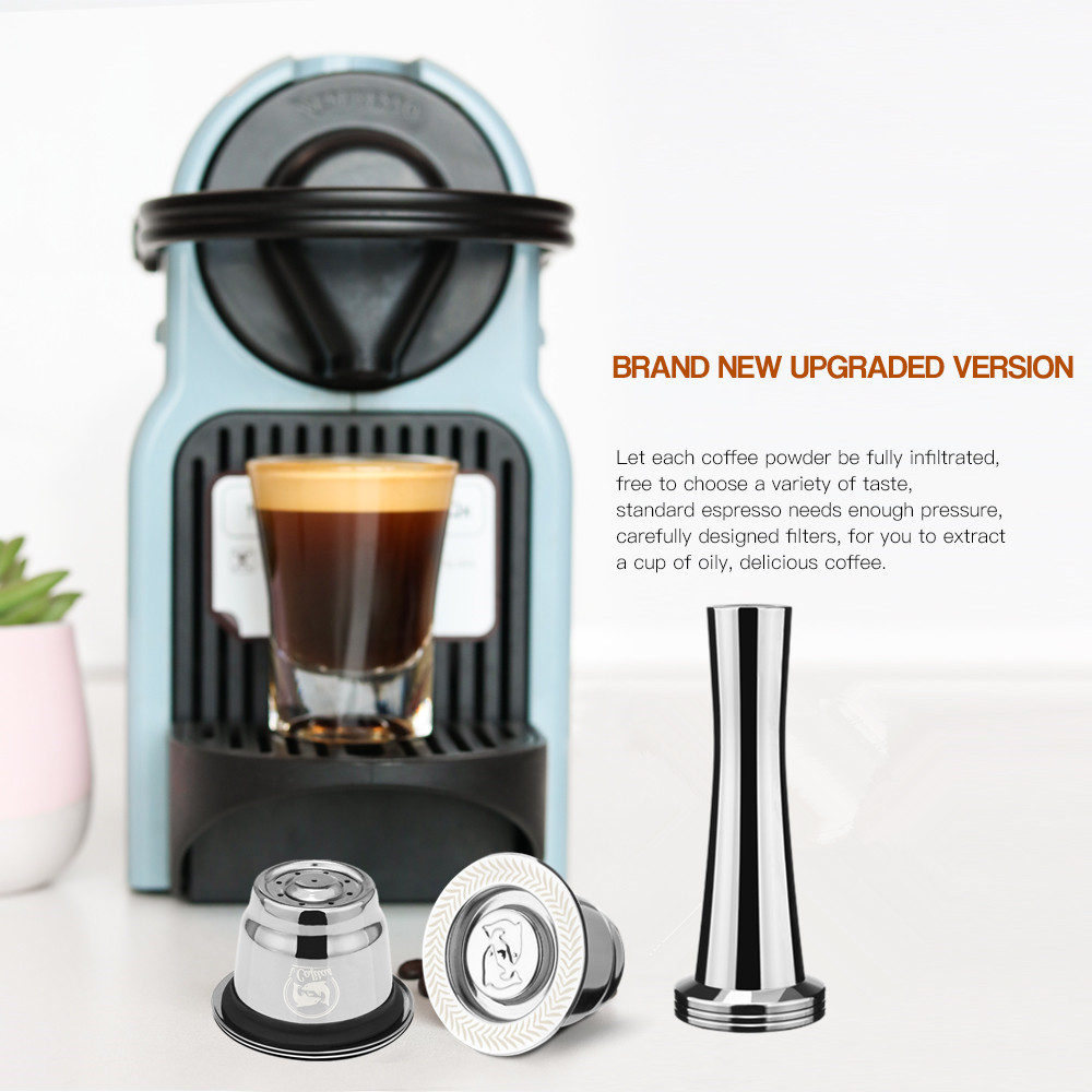 Upgraded Coffee Filters For Nespresso Stainless Steel Coffee Capsule Pods For Espresso Coffee Reusable Refillable Baskets