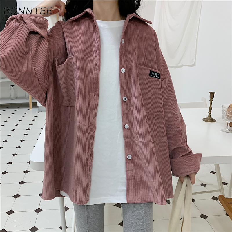 Shirts Women Solid Turn-down Collar Daily All-match Simple Womens Long Leisure Full-length Students Loose Chic High Quality 2020