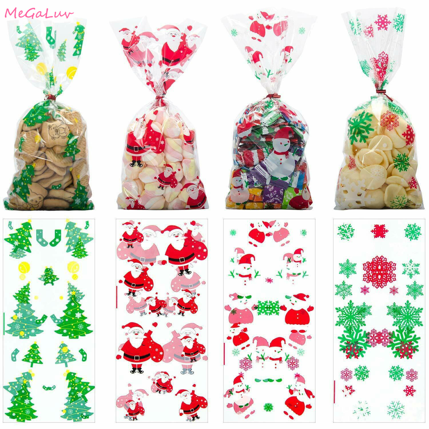 2 Styles Lifreer 200pcs Christmas Cookie Treat Bags Self-Adhesive Plastic Cellophane Candy Package Xmas Theme for Party Gift Supplies