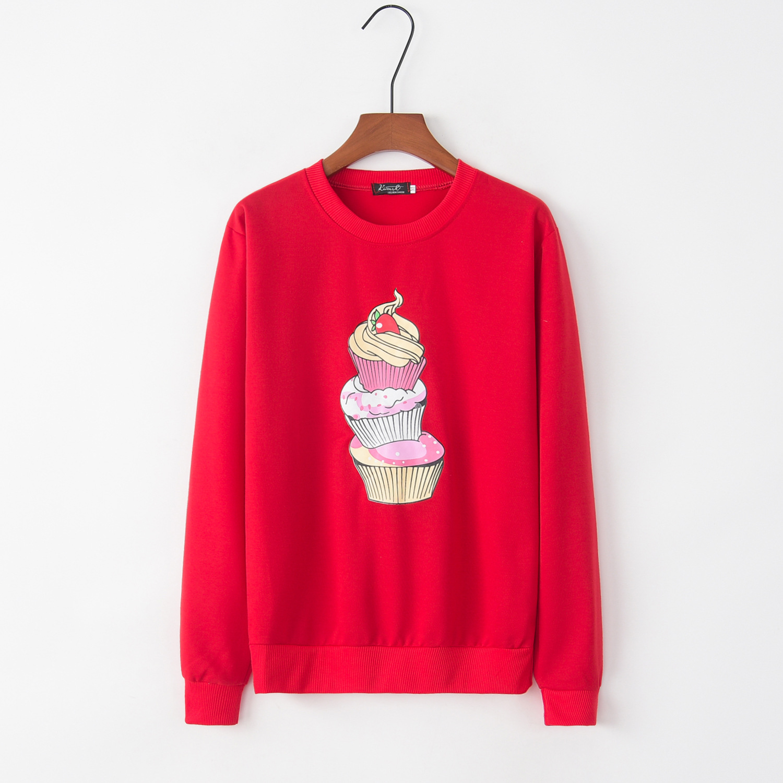 Ice Cream Red 2020 New Design Hot Sale Hoodies Sweatshirts Women Casual Kawaii Harajuku Sweat Girls European Tops Korean