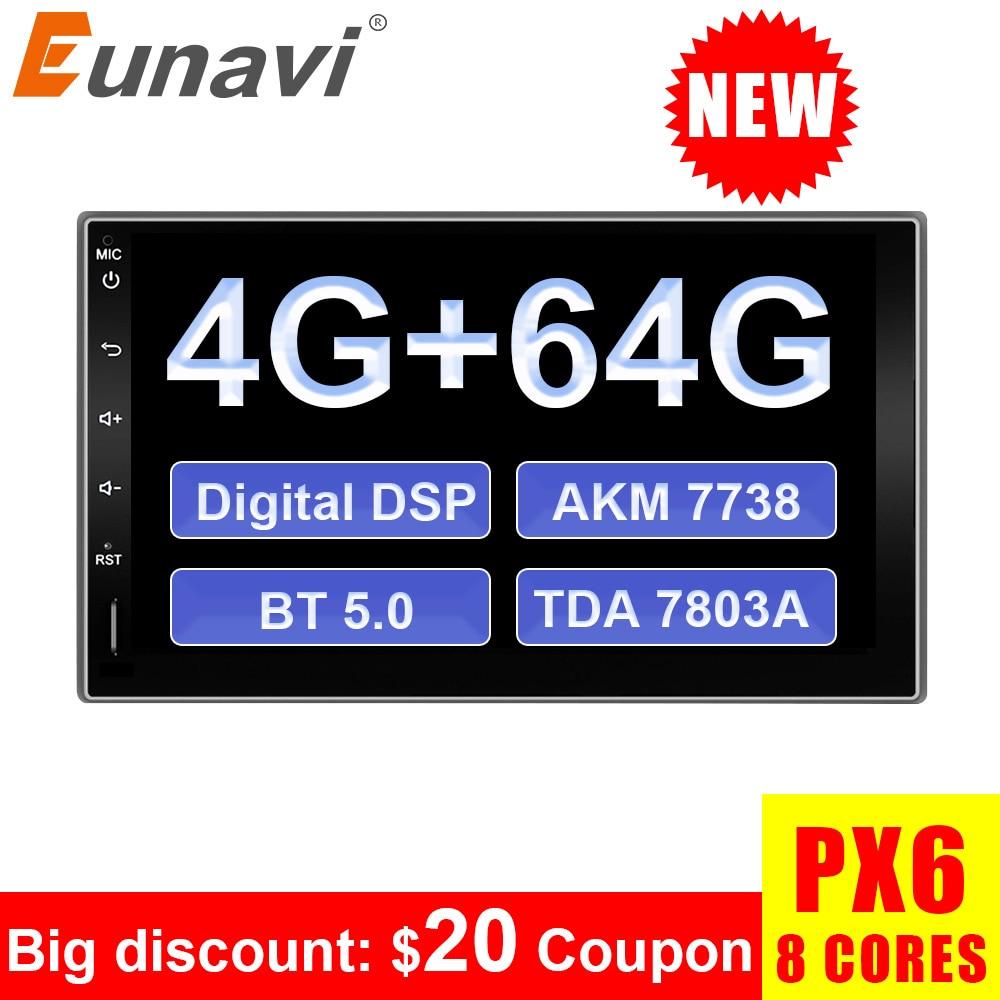 Eunavi 2 Din 7 дюймов Android 9,0 8 ядер Универсальное автомобильное радио Mutimedia стерео плеер GPS BT5 цифровой DSP TDA7803A 4G 64G WIFI IPS|Мультимедиаплеер для авто|   | АлиЭкспресс