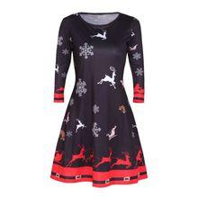 Women Winter Printed Christmas Dress plus size O-Neck A-Line Xmas Eve Reindeer Snowflake Santa Party Dresses vestidos s-3xl #25