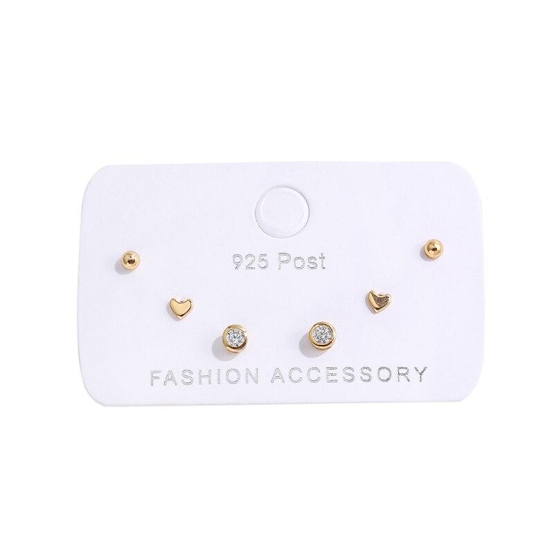 ANENJERY Simple 6-piece Small Earrings Set Zircon Dot Love Heart Stud Earrings For Women Gift S-E1234
