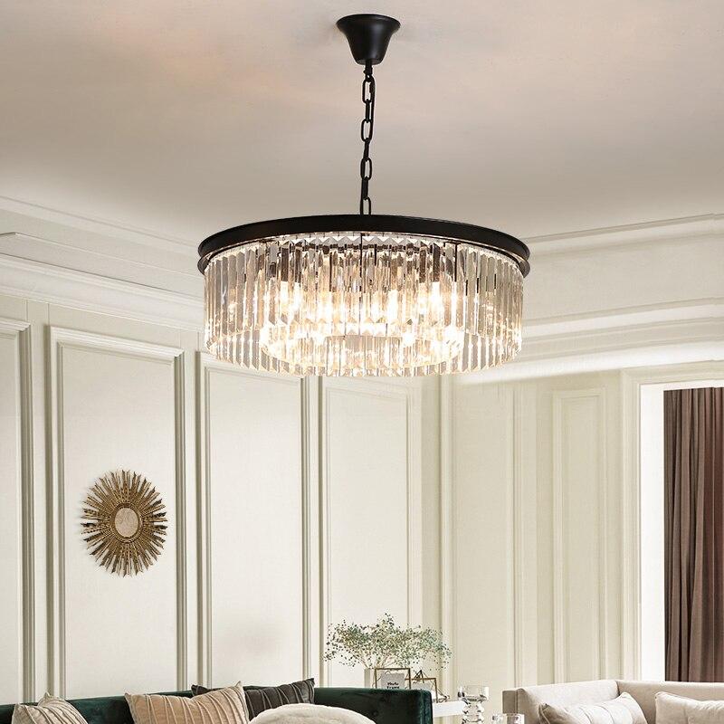 Vintage Loft industriel suspension lumières noir lampe à main escalier salle à manger K9 cristal abat-jour Luminaire Suspendu nordique suspension