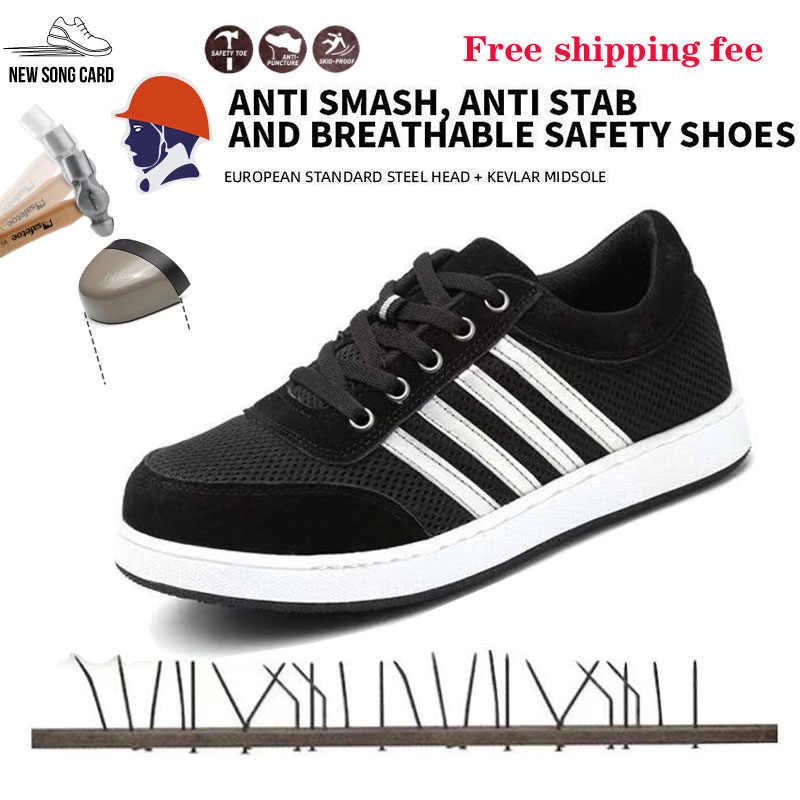Güvenlik ayakkabıları erkek güvenlik WorkShoes çizmeler erkekler için hafif çelik ayak iş çizmeleri erkek Anti-smashingConstruction güvenlik Sneakers
