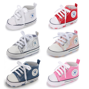 Baby Shoes Boy Girl Star Solid Sneaker Cotton Soft Anti-Slip Sole Newborn Infant First Walkers Toddler Casual Canvas Crib Shoes(China)