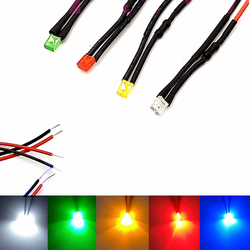 10Pcs 3V 5V 6V 9V 12V 24V 36V 48V 110V 220V Squared 2*3*4mm LED With 20cm Red&Black Wire Light=White Red Blue Green Yellow