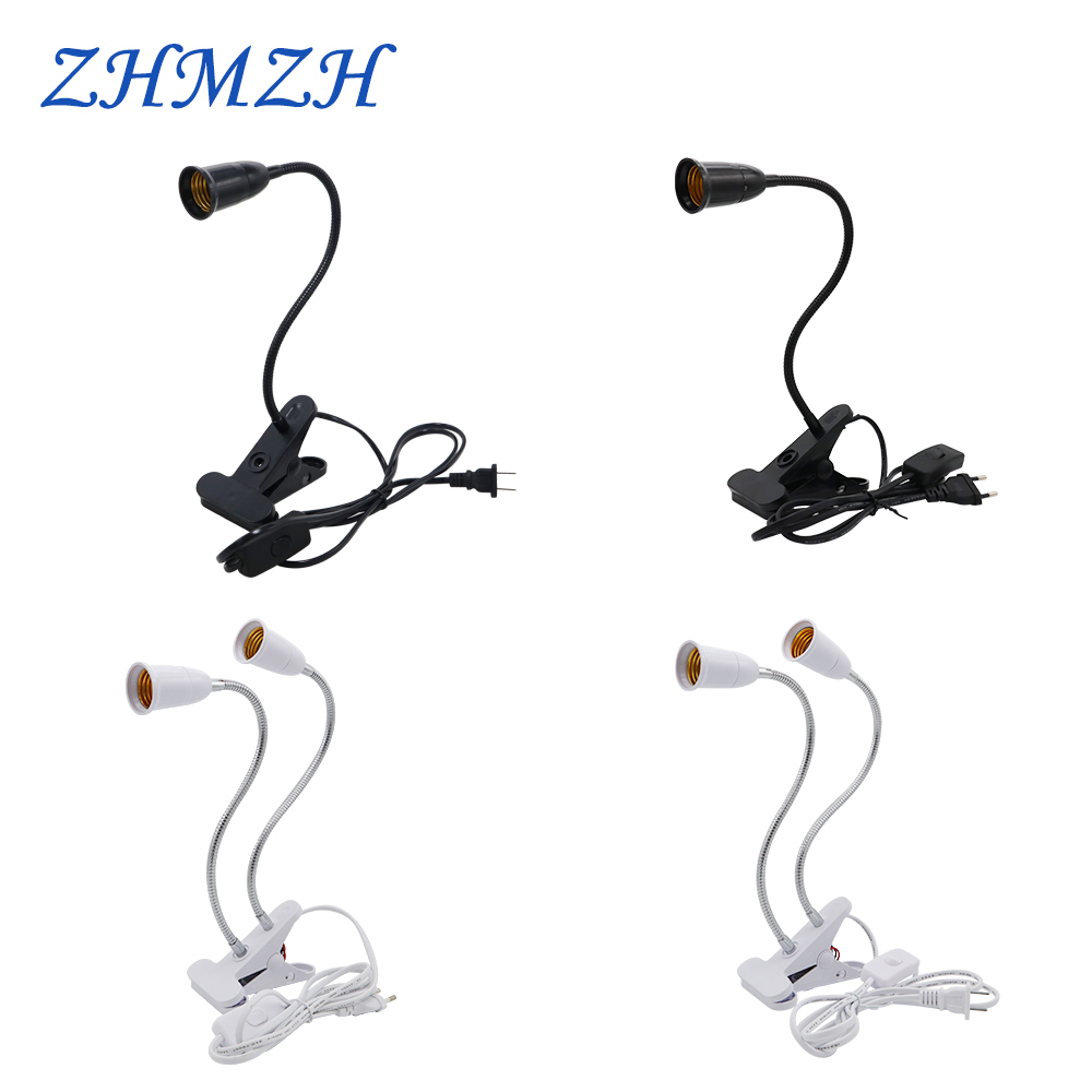 360 Degree Flexible LED Lamp Base Clip E27 Lamp Holder With On/Off Switch US EU Plug For LED Table Desk Lamps Book Light Bedroom