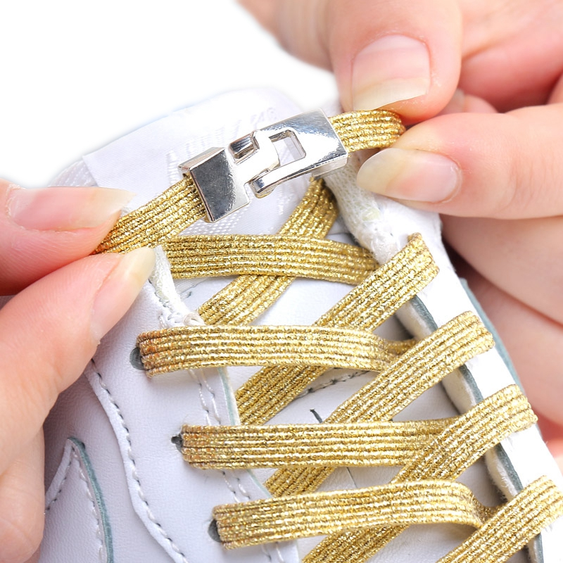 Cross Metal Lock Elastic Shoelaces Flat Fashion Colorful No Tie Shoelace Child Adult On Foot Leisure Sneakers Lazy Laces 1 Pair