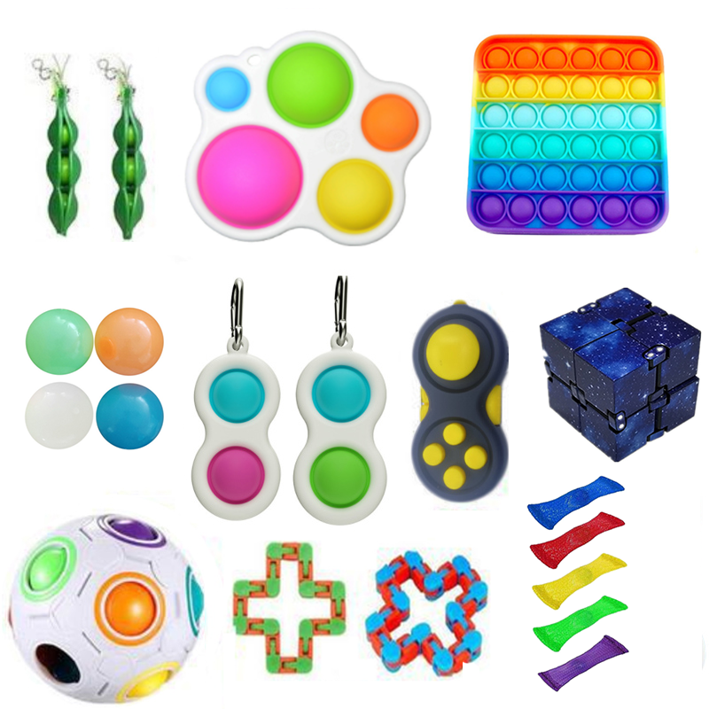 Fidget-Toys Gift-Pack Anti-Stress-Set Pop-It Stretchy-Strings Squishy Relief Sensory