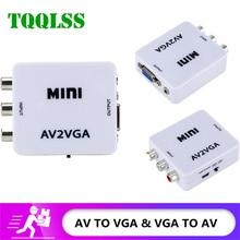 Mini Rca Naar Vga Converter AV2VGA VGA2AV Conversor Met 3.5Mm Audio Rca Naar Vga Video Converter Voor Pc tv Hd Computer Naar Tv