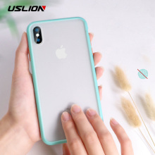 USLION Matte Transparent Phone Case For iPhone X XR XS Max Contrast Color Frosted Clear Hard PC 7 8 Plus Cover