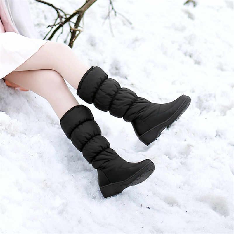 FEDONAS yeni kadın takozlar yüksek topuklu kar botları kış orta buzağı uzun sıcak ayakkabı kadın platformları pamuklu ayakkabılar yüksek çizmeler